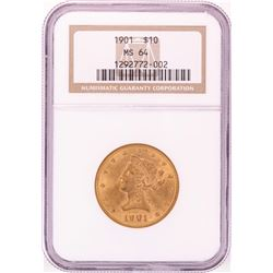 1901 $10 Liberty Head Eagle Gold Coin NGC MS64