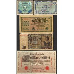 Lot of (5) Miscellaneous Germany Currency Notes