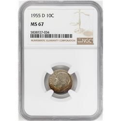 1955-D Roosevelt Dime Coin NGC MS67 Nice Toning