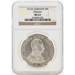 1913A Germany 5 Marks Silver Coin NGC MS63