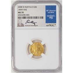 2008-W $5 American Buffalo Gold Coin NGC MS70 Edmund C. Moy Signature