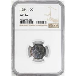 1954 Roosevelt Dime Coin NGC MS67 Nice Toning
