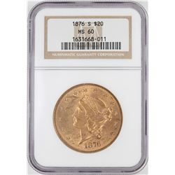 1876-S $20 Liberty Head Double Eagle Gold Coin NGC MS60