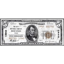 1929 $5 City National Bank of Houston, TX CH# 13943 National Currency Note