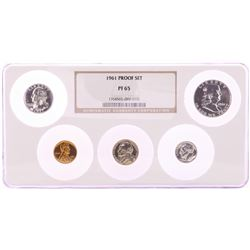 1961 (5) Coin Proof Set NGC Graded PF65