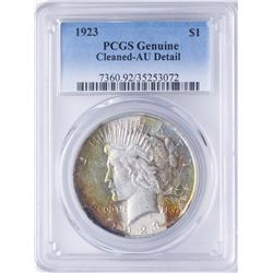 1923 $1 Peace Silver Dollar Coin PCGS AU Details AMAZING Color