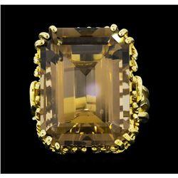 10KT Yellow Gold Ladies 21.00 ctw Smoky Quartz Ring