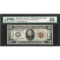 1934A $20 Hawaii WWII Emergency Issue Federal Reserve Note PMG About Uncirculated 55