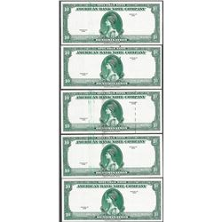 Lot of (5) Different 1929 Ten Unit American Bank Note Company Test Notes