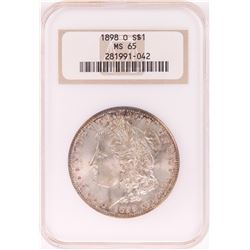 1898-O $1 Morgan Silver Dollar Coin NGC MS65 Nice Toning Old Holder