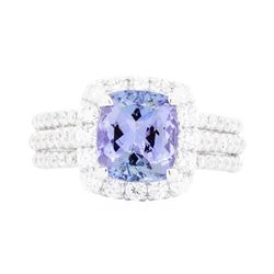 18KT White Gold Ladies 2.18 ctw Tanzanite and Diamond Ring