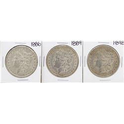 Lot of 1886, 1889, & 1898 $1 Morgan Silver Dollar Coins