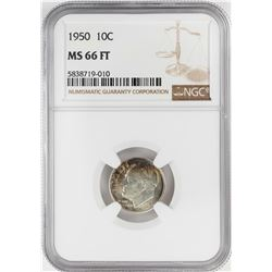 1950 Roosevelt Dime Coin NGC MS66FT