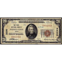 1929 $20 First National Bank of Wichita Falls, Texas CH# 3200 National Currency Note