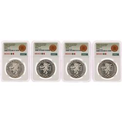 Lot of (4) 1968Mo Mexico 25 Pesos Olympics Commemorative Silver Coins NGC MS65