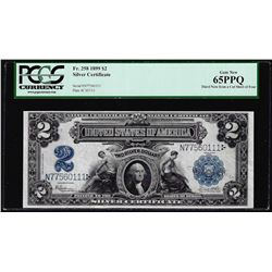 1899 $2 Mini-Porthole Silver Certificate Note Fr.258 PCGS Gem New 65PPQ