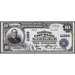 1902PB $10 City Bank of St. Louis, MO CH# 11989 National Currency Note
