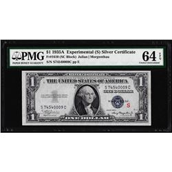 "1935A $1 Experimental ""S"" Silver Certificate Note PMG Choice Uncirculated 64EPQ"