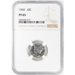 1942 Proof Mercury Dime Coin NGC PF65