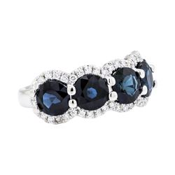 14KT White Gold 5.16 ctw Sapphire and Diamond Ring