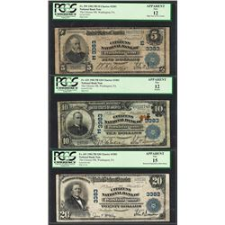 Lot of 1902PB $5/10/20 Washington, PA CH# 3383 National Currency Notes PCGS F12/F15