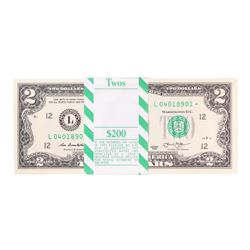 Pack of (100) Consecutive 2013 $2 Federal Reserve STAR Notes San Francisco
