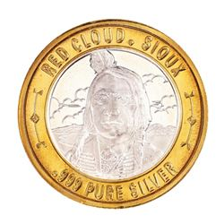 .999 Silver Red Cloud Sioux $10 Casino Limited Native American Series Gaming Token