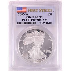 2005-W $1 Proof American Silver Eagle Coin PCGS PR69DCAM First Strike