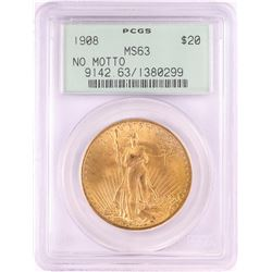 1908 No Motto $20 St. Gaudens Double Eagle Gold Coin PCGS MS63 Old Green Holder