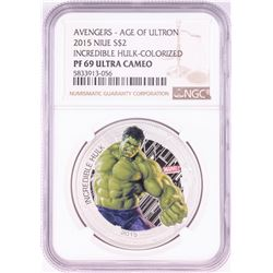 2015 Niue $2 Proof Avengers Age of Ultron Incredible Hulk Silver Coin NGC PF69 Ultra Cameo