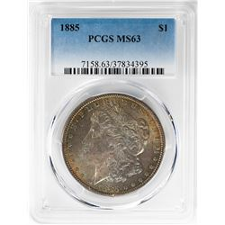 1885 $1 Morgan Silver Dollar Coin PCGS MS63 Amazing Toning