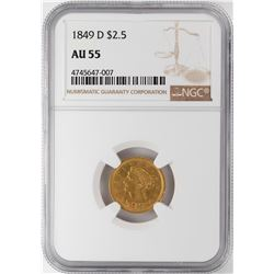 1849-D $2 1/2 Liberty Head Quarter Eagle Gold Coin NGC AU55