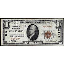 1929 $10 NB of Washington, District of Columbia CH# 2043 National Currency Note