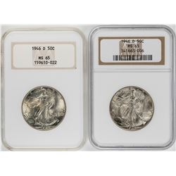 Lot of (2) 1946-D Walking Liberty Half Dollar Coins NGC MS65