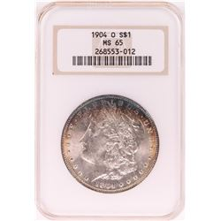 1904-O $1 Morgan Silver Dollar Coin NGC MS65 Nice Toning Old Holder