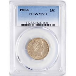 1900-S Barber Quarter Coin PCGS MS63