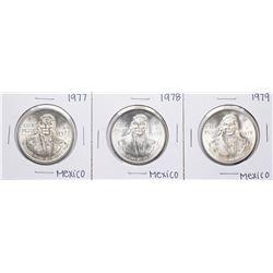 Lot of 1977-1979 Mexico Cien Pesos Silver Coins