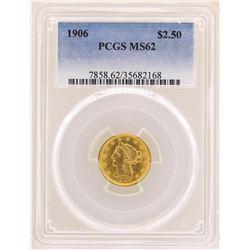 1906 $2 1/2 Liberty Head Quarter Eagle Gold Coin PCGS MS62