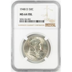 1948-D Franklin Half Dollar Coin NGC MS64FBL