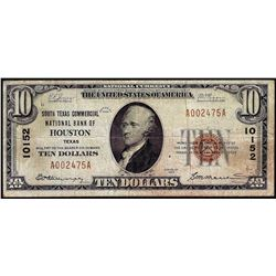 1929 $10 National Bank Houston, TX CH# 10152 National Currency Note