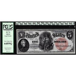 1880 $5 Woodchopper Legal Tender Note Fr.73 PCGS Very Choice New 64PPQ