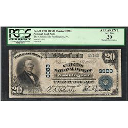 1902PB $20 Washington, PA CH# 3383 National Currency Note PCGS Very Fine 20 Apparent