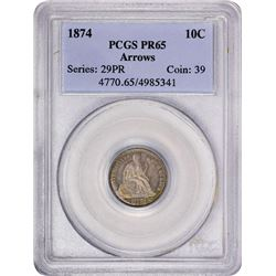 1874 Proof Seated Liberty Dime Coin Arrows PCGS PR65