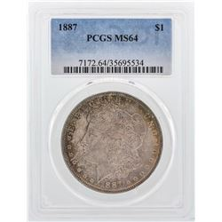 1887 $1 Morgan Silver Dollar Coin PCGS MS64 Nice Color