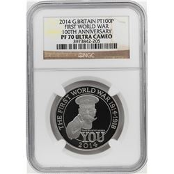 2014 Great Britain 100 Pounds First World War Platinum Coin NGC PF70 Ultra Cameo