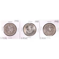 Lot of (3) 1948 Mexico Cuauhtemoc Cinco Pesos Silver Coins
