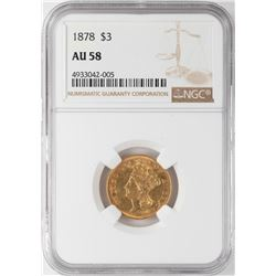 1878 $3 Indian Princess Head Gold Coin NGC AU58