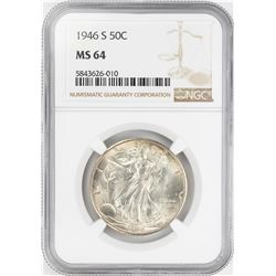 1946-S Walking Liberty Half Dollar Coin NGC MS64