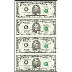 Uncut Sheet of (4) 1995 $5 Federal Reserve Notes Atlanta