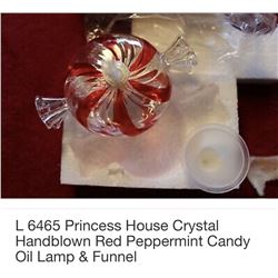 Crystal Handblown Red Peppermint Candy Oil Lamp & Funnel #6465